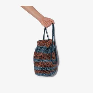 Nicholas Daley blue and orange striped crochet shoulder bag