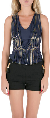 Philosophy di Alberta Ferretti Philosophy Blue Silk Gathered Pleat Front Metal Chain Detail Sleeveless Top S
