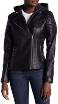 Soia & Kyo Hooded Genuine Leather Moto Jacket