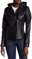 Soia & Kyo Inset Hoodie Leather Moto Jacket