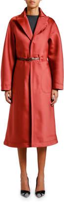 Giorgio Armani Stone Duchess Satin Topper Coat