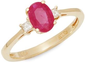 Effy 14K Yellow Gold, Ruby & White Diamond Ring