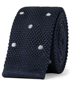 Lanvin 4.5cm Polka-dot Knitted Silk Tie - Midnight blue