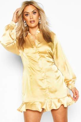 boohoo Plus Ruffle Hem Shirt Dress