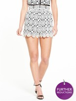 Miss Selfridge Petite Mono Lace Short. Available In Sizes 4-14