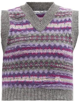 Acne Studios Korina Sleeveless Fair Isle Wool Sweater - Grey Multi