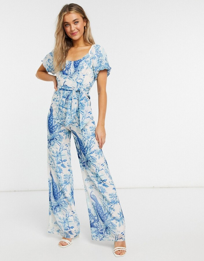 Thumbnail for your product : Hope & Ivy puff sleeve jumpsuit in blue and ivory print