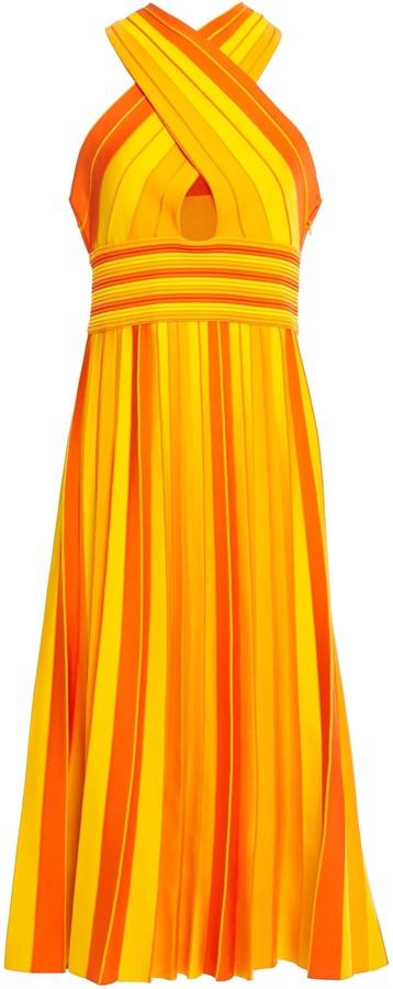 Carolina Herrera Cutout Pleated Striped Stretch-knit Midi Dress