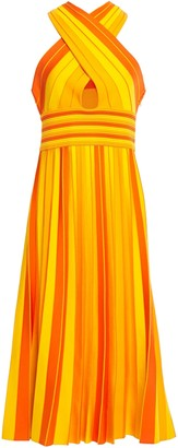Carolina Herrera Cutout Pleated Striped Stretch-knit Midi Dress
