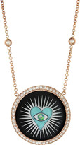 Jacquie Aiche Black Onyx Turquoise Heart Inlay Pendant Necklace - Rose Gold