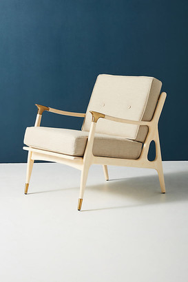 Anthropologie Linen Haverhill Chair By in White