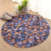 DUSPLOT 3d stone door round mat/athroom athroom with non-slip foot pads
