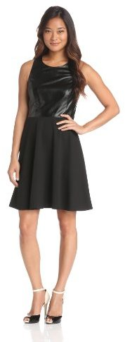 Laundry by Shelli Segal Women's Leather and Ponte Racer-Back Dress