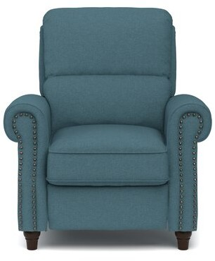 Three Posts Lamoreaux Manual Recliner Body Fabric: Caribbean Blue Linen Polyester