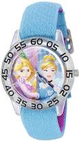 Disney Girl's 'Cinderella' Quartz Plastic and Nylon Automatic Watch, Color:Blue (Model: W002950)