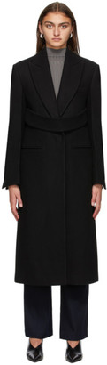 System Black Wool and Cashmere Belted Long Coat