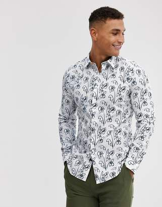 Paul Smith slim fit sketch floral long sleeve shirt in white
