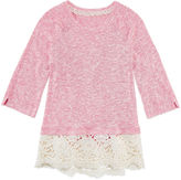 Arizona Crew Neck 3/4 Crochet Hem Hacci Top Sleeve Blouse - Big Kid