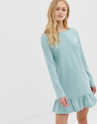 Glamorous long sleeve dress in mini spot