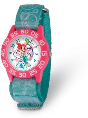 Disney Ariel Girls' Plastic Time Teacher Watch ,Pink Bezel, Printed Stretch Nylon Strap