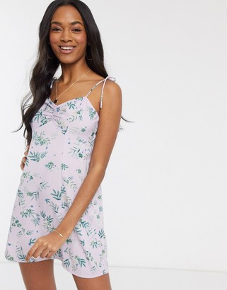 Vero Moda mini dress with tie straps in ditsy floral