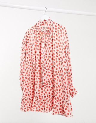 Glamorous mini smock dress with neck tie and peplum hem in strawberry print