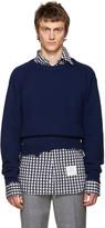 Raf Simons Navy Wool Destroyed Sweater