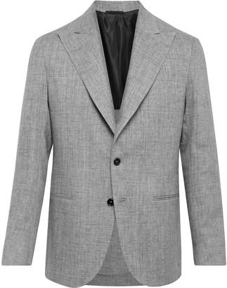 De Petrillo Mergellina Slim-Fit Melange Linen Suit Jacket