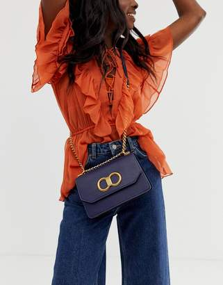 Aldo Adiari gold detailed crossbody bag with chain strap in navy-Blue