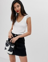 Stradivarius sleeveless top with lace shoulder detail in white