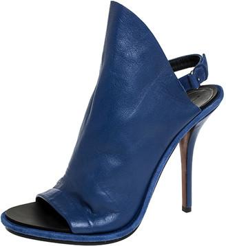 Givenchy Balenciaga Blue Leather Open Toe Slingback Mule Sandals Size 41