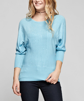 Light Blue Rhinestone Scoop Neck Pullover Sweater