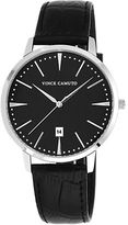 Vince Camuto Silvertone Round Watch with Leather Strap