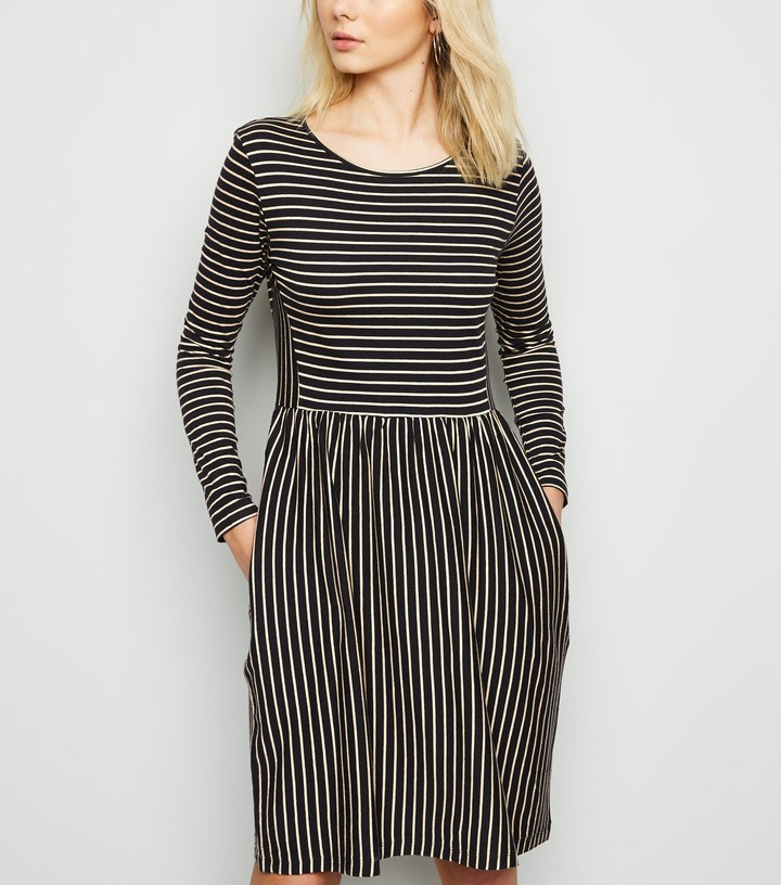 New Look JDY Stripe Long Sleeve Skater Dress