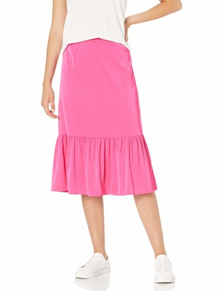 The Drop Women's Jerry Wide Hem Elastic Back Silky Stretch Pull-On Midi Skirt