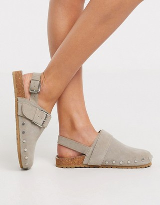 Asos DESIGN Millennium suede studded flat shoes in grey