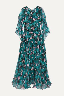Eywasouls Malibu Claire Floral-print Chiffon Maxi Dress - Turquoise