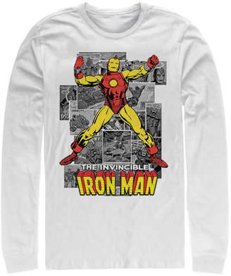 Marvel Men Classic Comics Iron Man Invincible Comic Strips, Long Sleeve T-Shirt