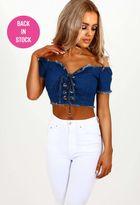 Pink Boutique Daisy Duke Blue Denim Bardot Lace Up Front Crop Top