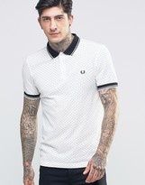 Fred Perry Polo Shirt With Polka Dot In Snow White In Slim Fit
