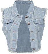 Anna-Kaci Wash Blue Denim Distressed Frayed Button Up Sleeveless Crop Vest