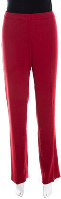 Escada Ruby Red Wool Crepe High Waist Tovah Trousers M