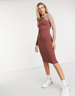 ASOS DESIGN long sleeve cutout rib midi dress with open back in contrast color