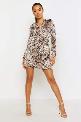 boohoo Snake Print Puff Sleeve Wrap Dress
