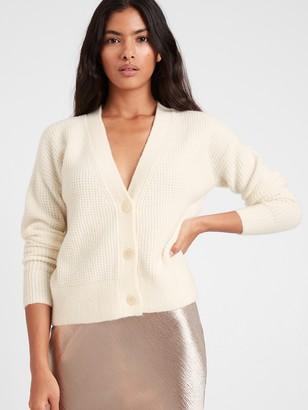 Banana Republic Petite Aire Waffle-Knit Cardigan Sweater