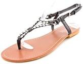 Lauren Ralph Lauren Alexa Women Open Toe Leather Black Thong Sandal.