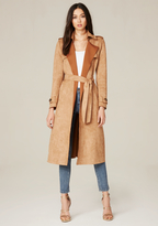 Bebe Faux Suede Long Trench Coat