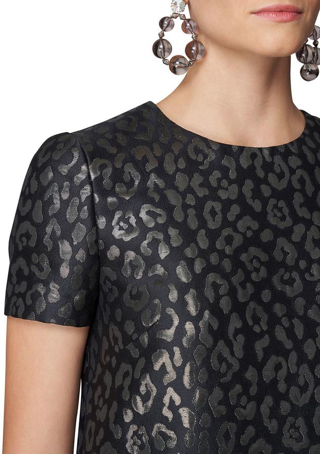 Thumbnail for your product : Carolina Herrera Metallic Jacquard Leopard-Print Shift Dress