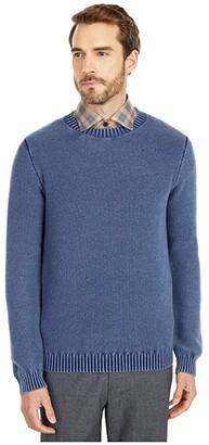 Eleventy Wash Pique Crew Neck Sweater (Navy) Men's Clothing