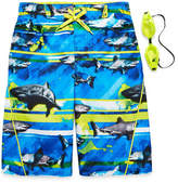 ZeroXposur Zero Xposur Boys Frenzied Shark Stripes Swim Trunks-Big Kid
